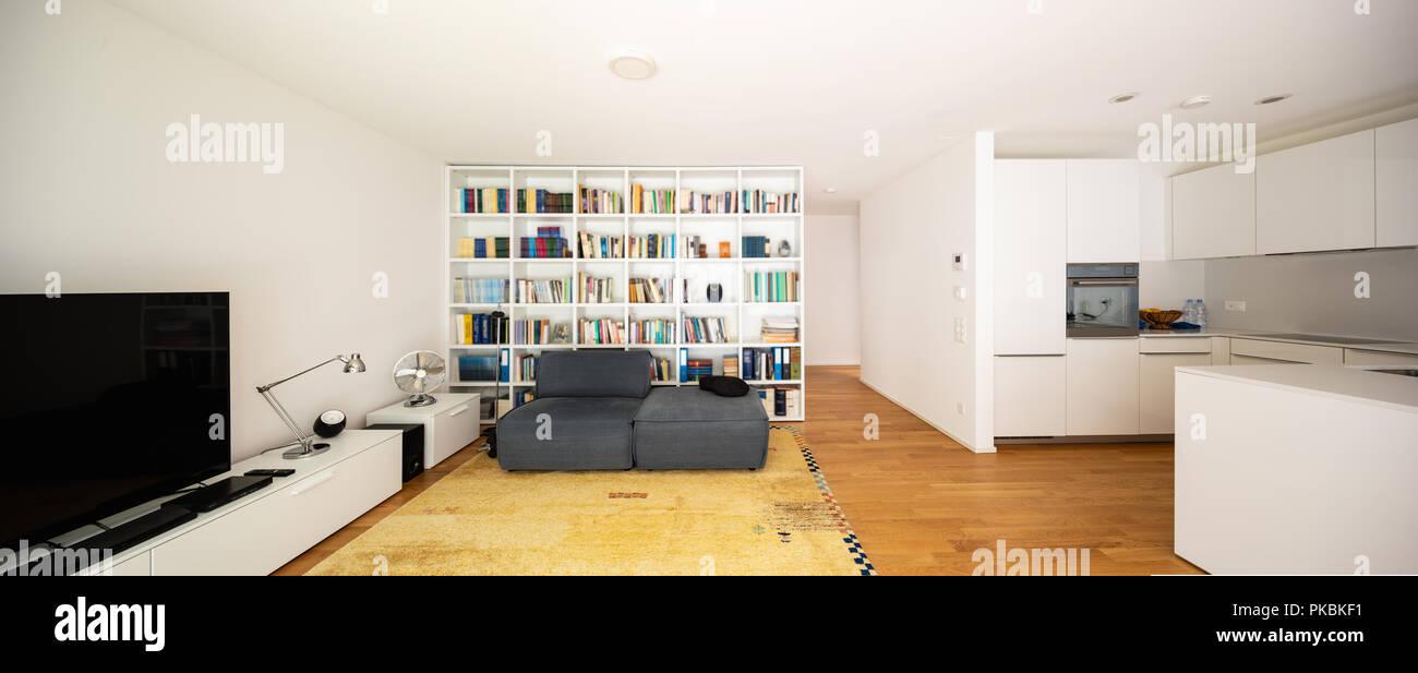 Modernes Wohnzimmer, mit einem modernen Teppich Stockfoto ...