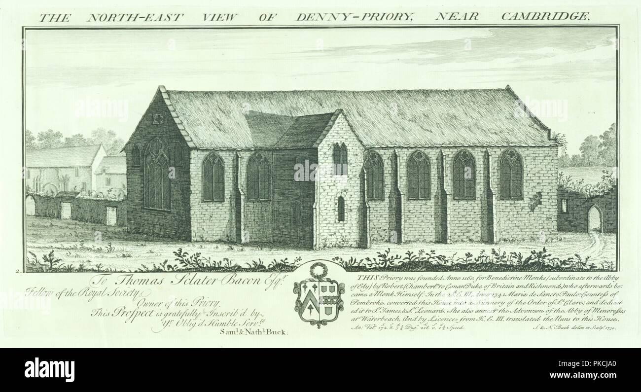 """Denny Abtei, Cambridgeshire, 1730. """"Die Nord Ost Blick auf Denny Priorat in der Nähe von Cambridge. Denny Abtei wurde von den Benediktinern im 12. Jahrhundert gegründet, wurde aber später von den Templerorden besaß, dann die Ritter Johanniter vor der Übertragung in den Besitz der Franziskanerinnen aus dem 14. Jahrhundert. Stockbild"""