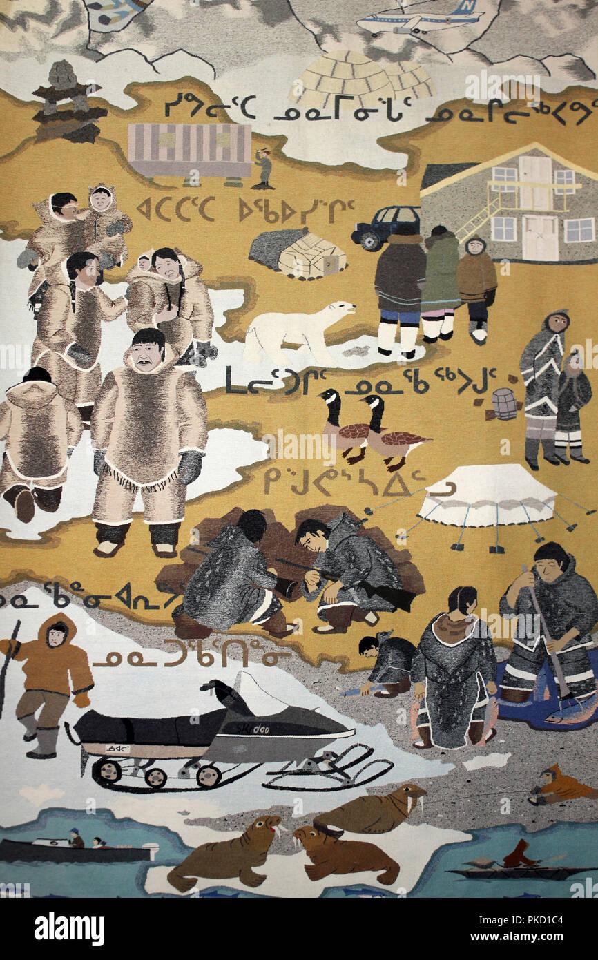 Wandteppich Darstellung Inuit leben Stockbild