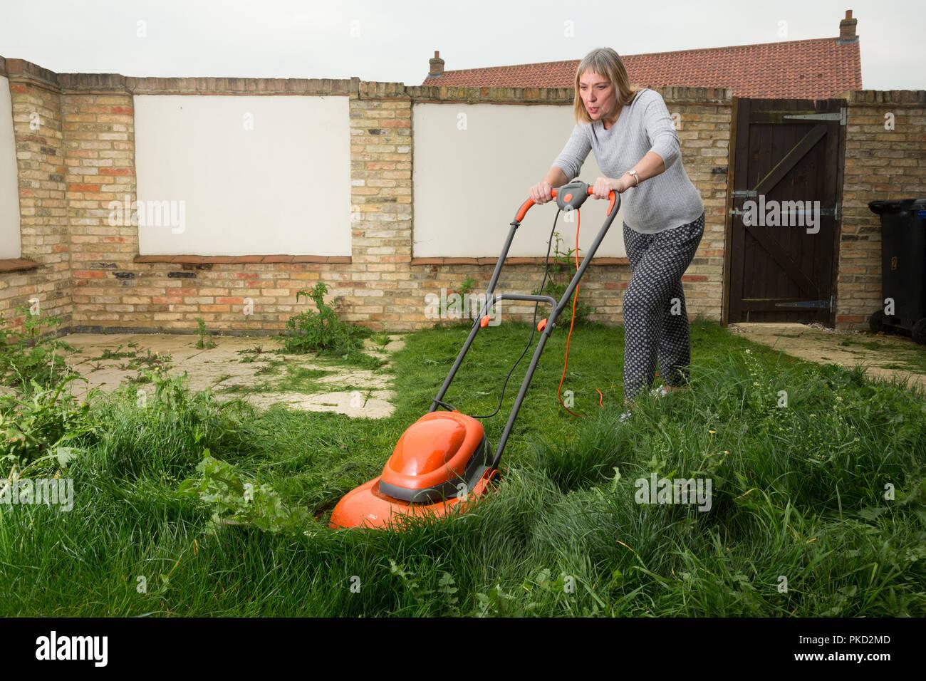 Frau Sehr Lange Gras Mähen Auf Bewachsenem Rasen Stockfoto Bild