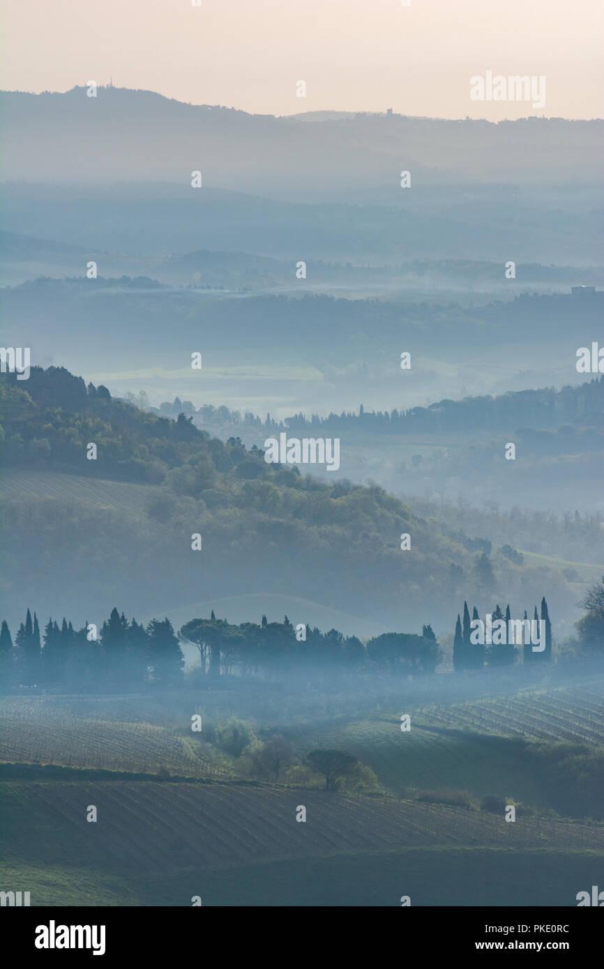 Am frühen Morgen in der Toskana Stockbild