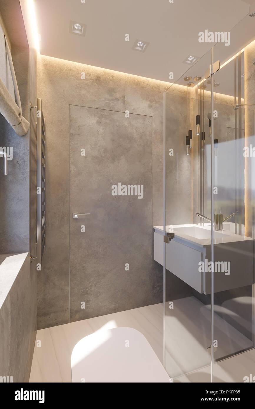 3D-Render Interieur der Badezimmer mit ebenerdiger Dusche ...