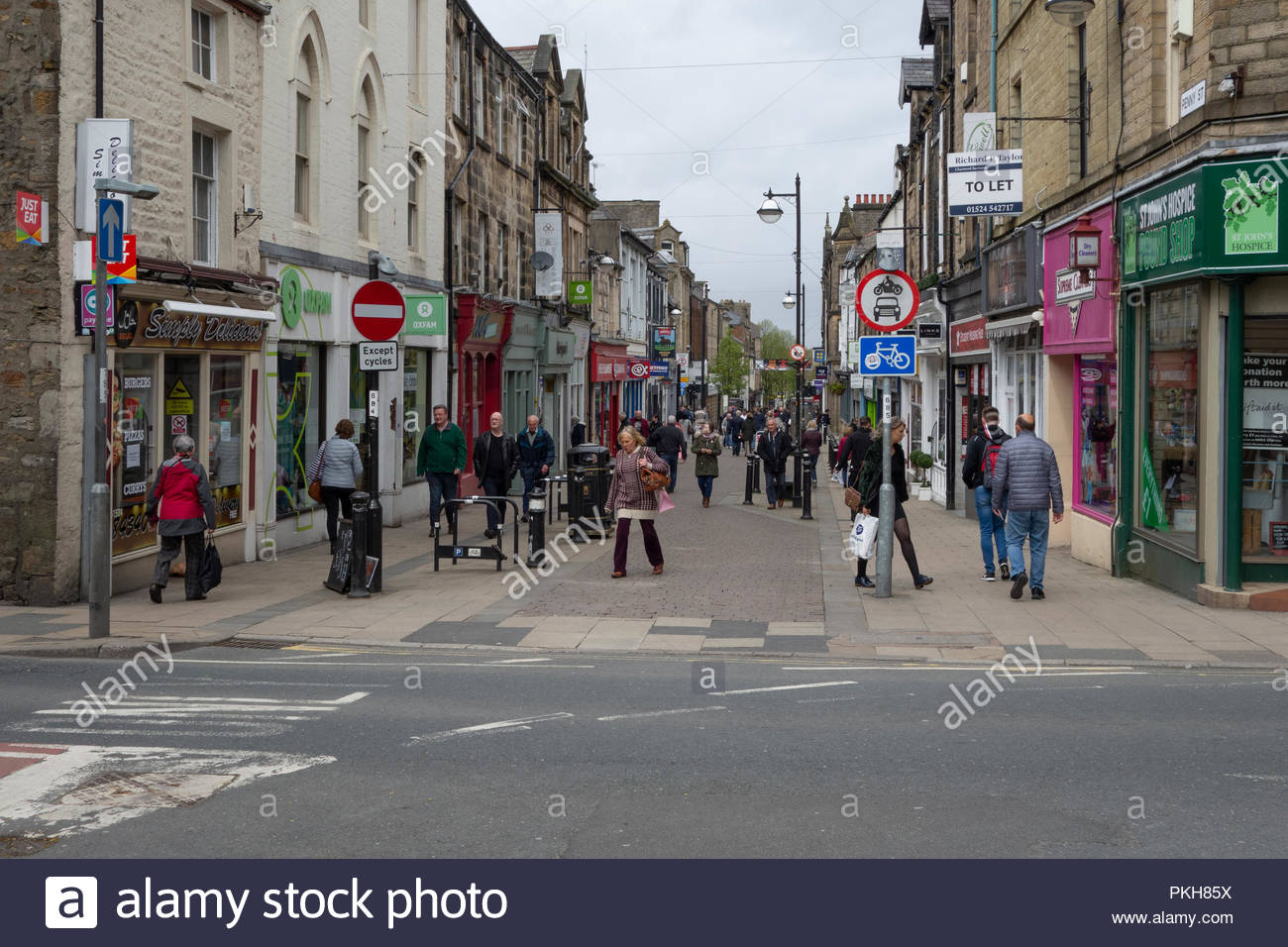 Penny Street, einer Fußgängerzone in Lancaster, Großbritannien Stockbild