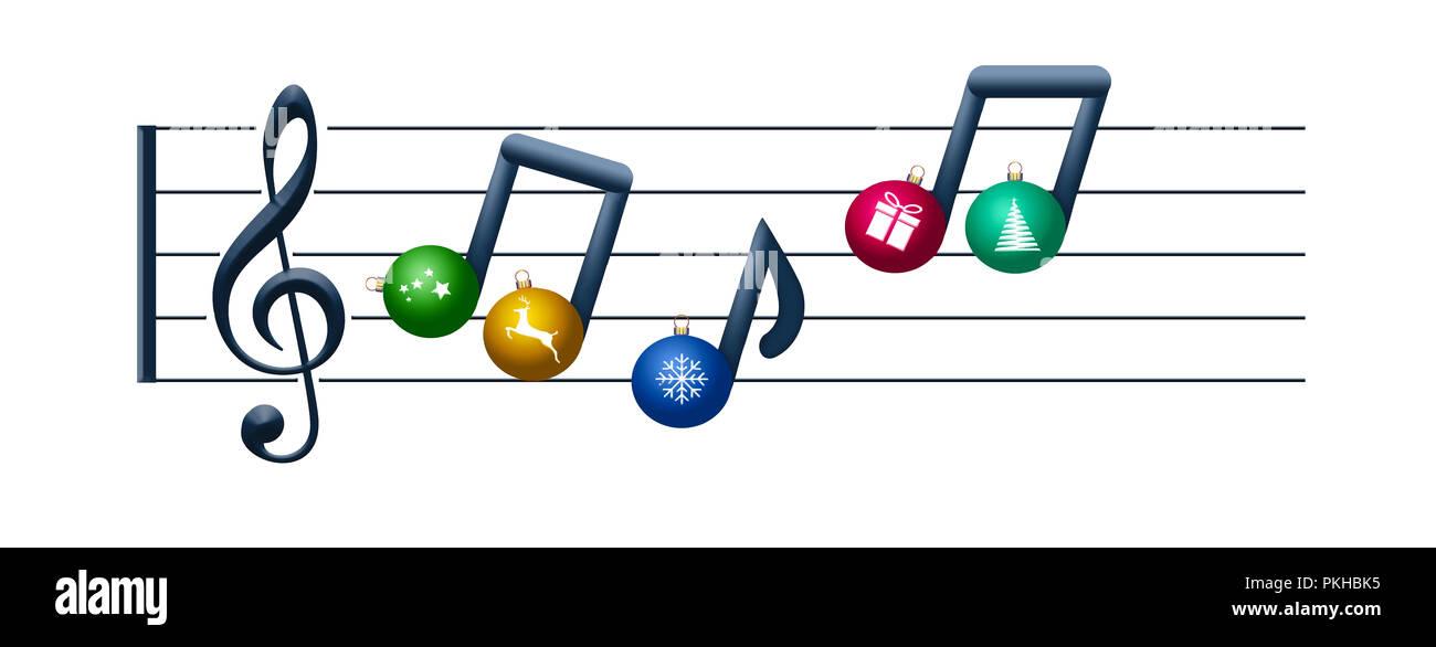 Noten aus Weihnachtsverzierungen schwimmen auf ein violinschlüssel ...