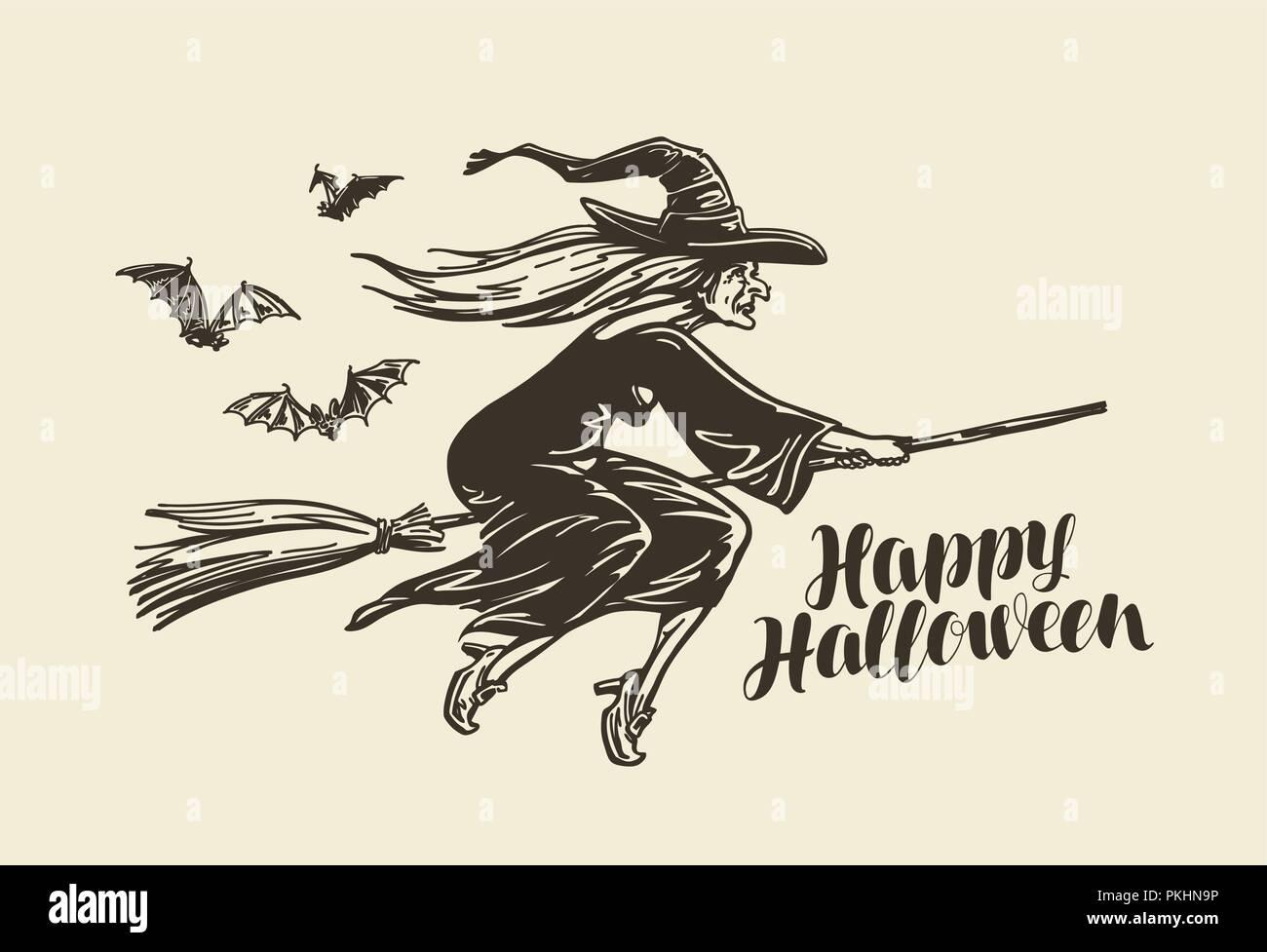 Halloween, Grußkarte. Alte Hexe auf Besen fliegen. Vintage Skizze Vector Illustration Stockbild
