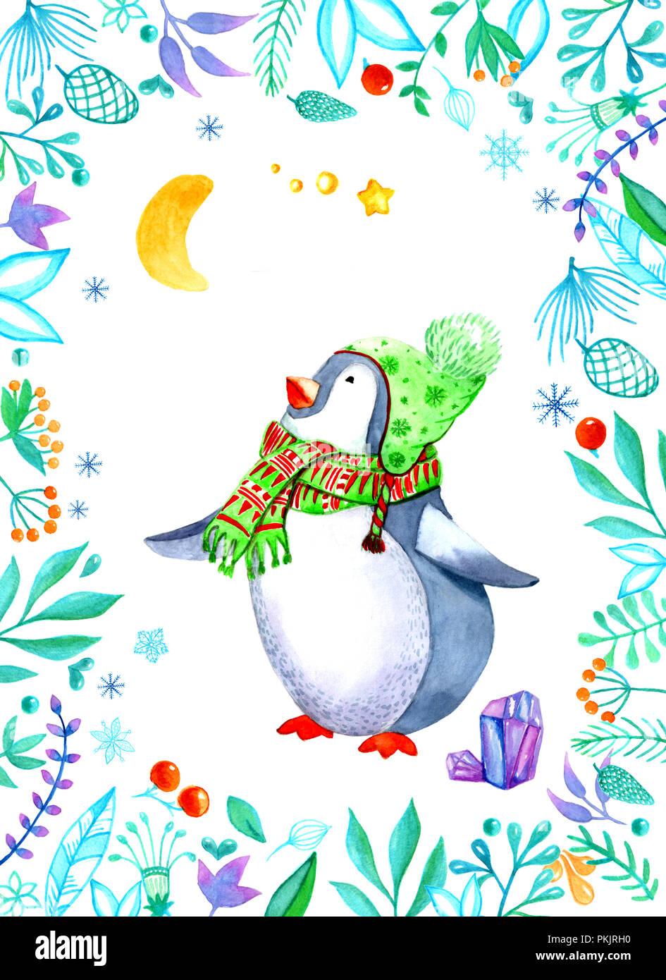 Weihnachten clipart von Aquarell. Der Pinguin in der Kopfzeile ...