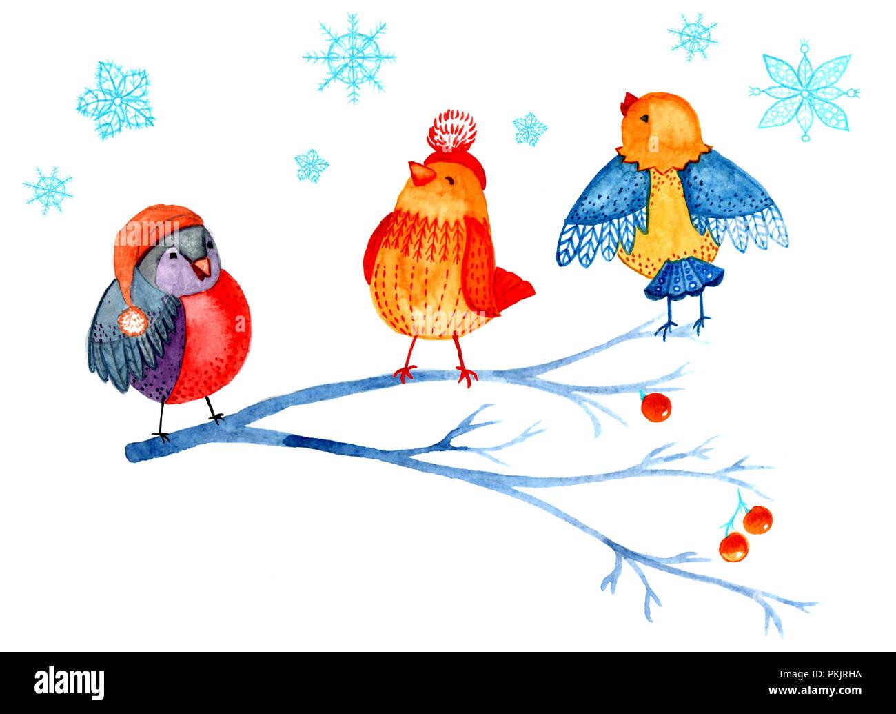 Weihnachten clipart von Aquarell. Vögel auf einem Ast, Schneeflocken ...
