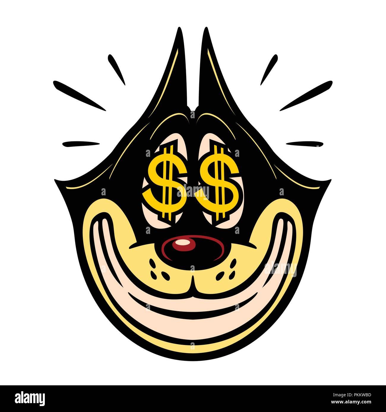 Vintage Toons: vintage Zeichentrickfigur lächelnd gierige Katze mit Geld Dollarzeichen in den Augen Verkauf einfach Geld Gewinn emoji Vector Illustration Stockbild