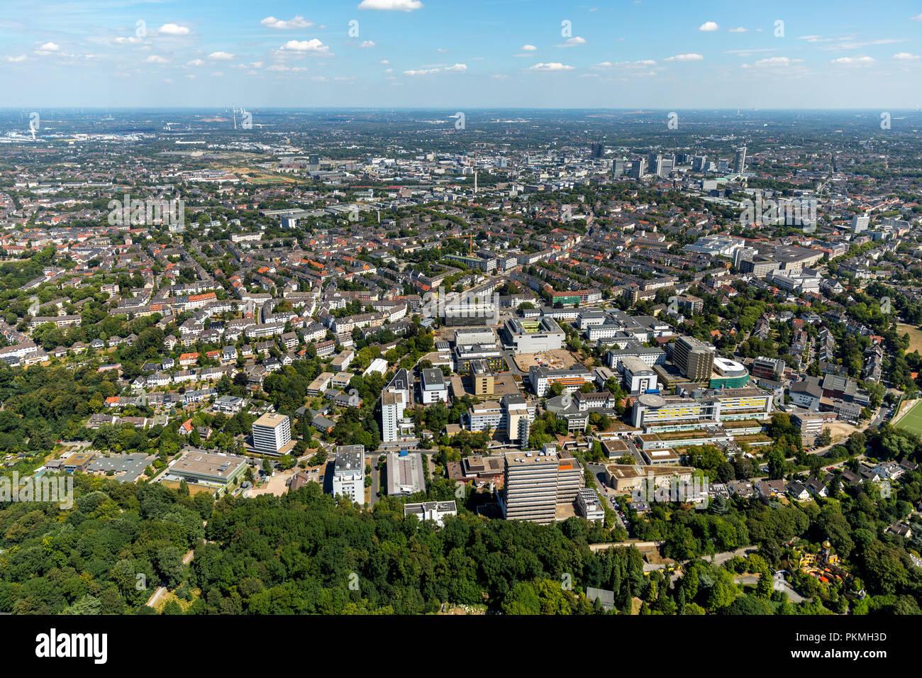 Luftaufnahme, Universitätsklinikum Essen, Rüttenscheid, Essen, Ruhrgebiet, Nordrhein-Westfalen, Deutschland Stockbild