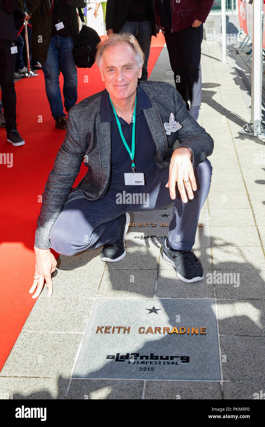 Keith Carradine ist mit einem Stern auf dem Walk of Fame geehrt die OLB beim Filmfest Oldenburg, am 14. September 2018 in Oldenburg, Deutschland. Stockbild