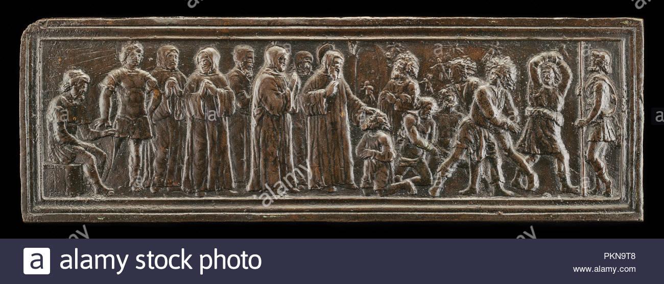 Saint Simeon von Polirone in Jerusalem, Dämonen auszutreiben von Männer besaßen. Vom: Modell wahrscheinlich C. 1516; Cast vielleicht später (evtl. aus dem 19. Jahrhundert). Maße: Gesamt: 6.14 x 18.55 cm, 265.67 gr (2 7/16 x 7 5/16 in., 0.586 lb.). Medium: Bronze//Medium braune Patina. Museum: Nationalgalerie, Washington DC. Autor: Bartolomeo Spani. Stockbild