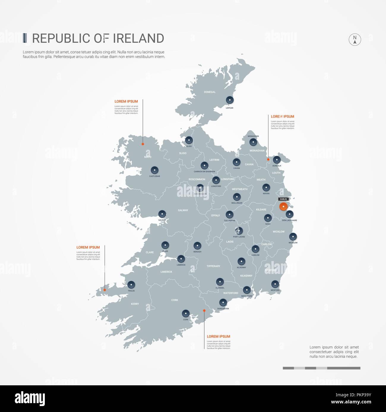 Irland Karte Städte.Republik Irland Karte Mit Grenzen Städte Kapital Und