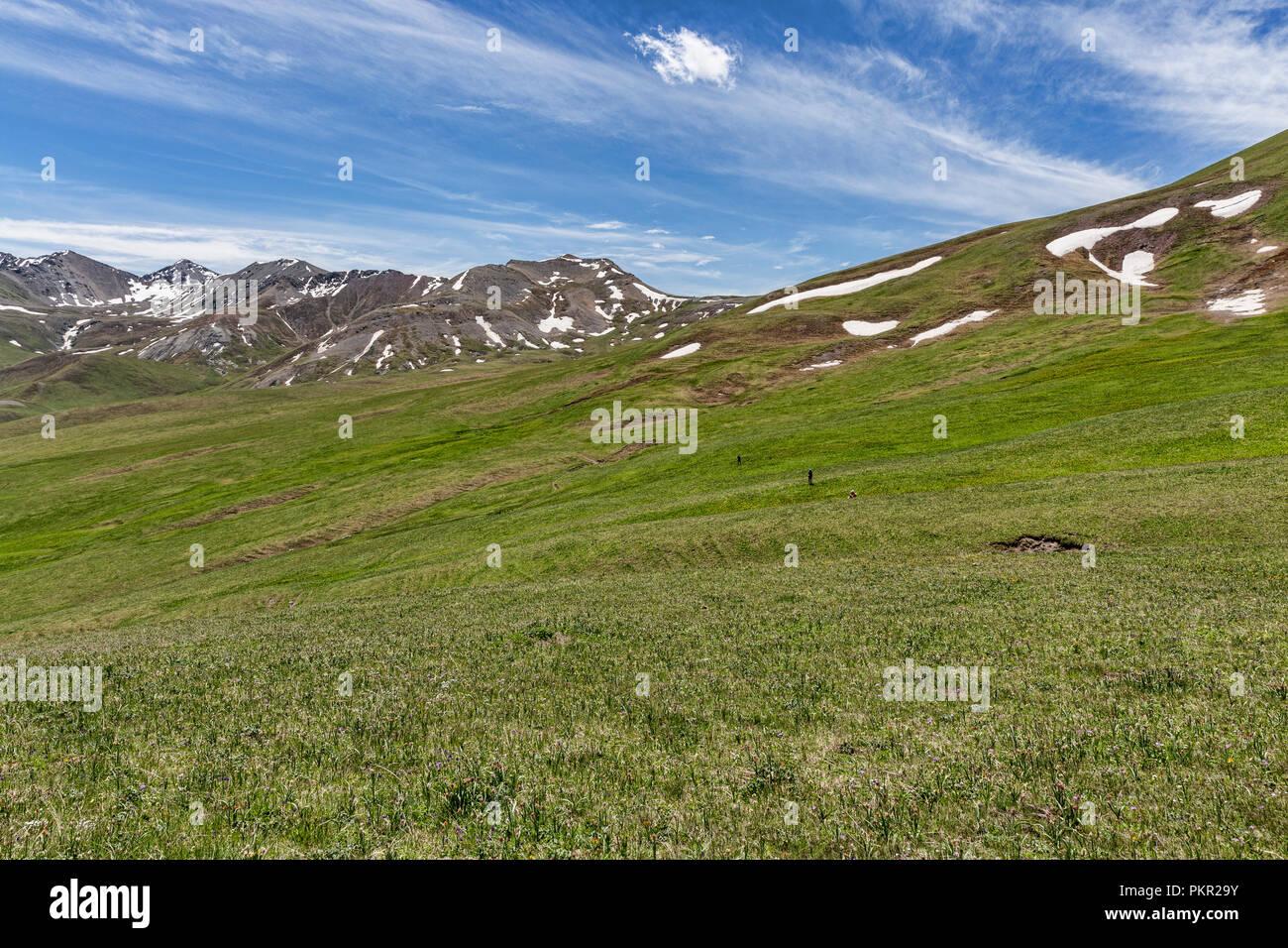 Trekker kreuz Höhe Weide mit quellgebiet Becken für das Uch Kashka Tal im Hintergrund, Keskenkyia Loop trek, Jyrgalan, Kirgisistan Stockbild