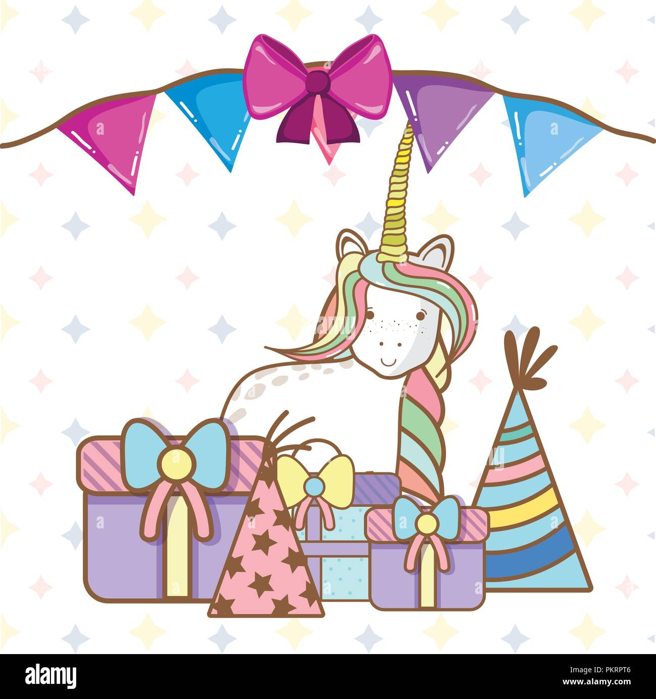 Geburtstag Party Einhorn Partei Cartoons Vektor Abbildung Bild