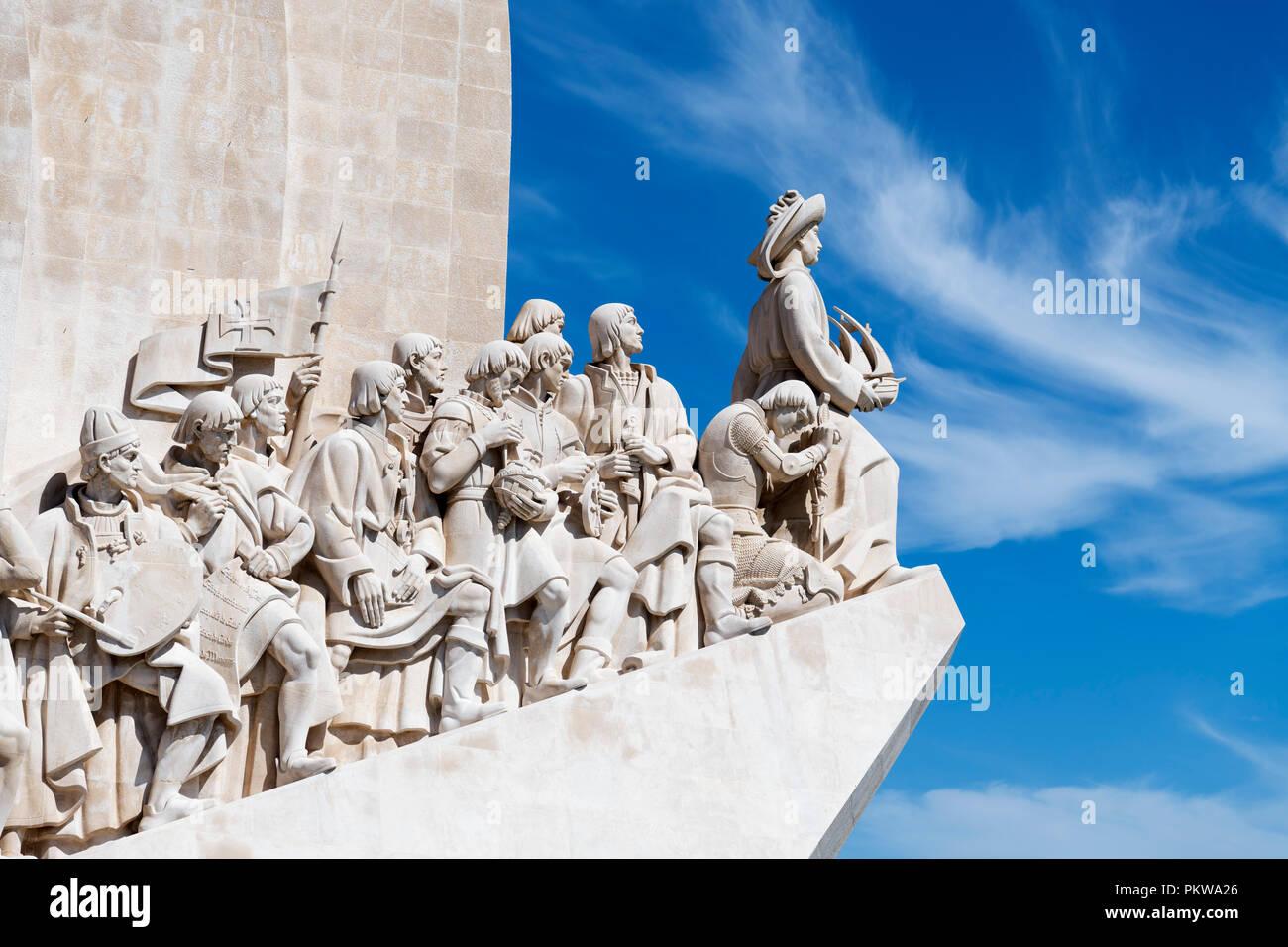 Detail der Denkmal der Entdeckungen (Padrao dos Descobrimentos), Stadtteil Belem, Lissabon, Portugal Stockbild