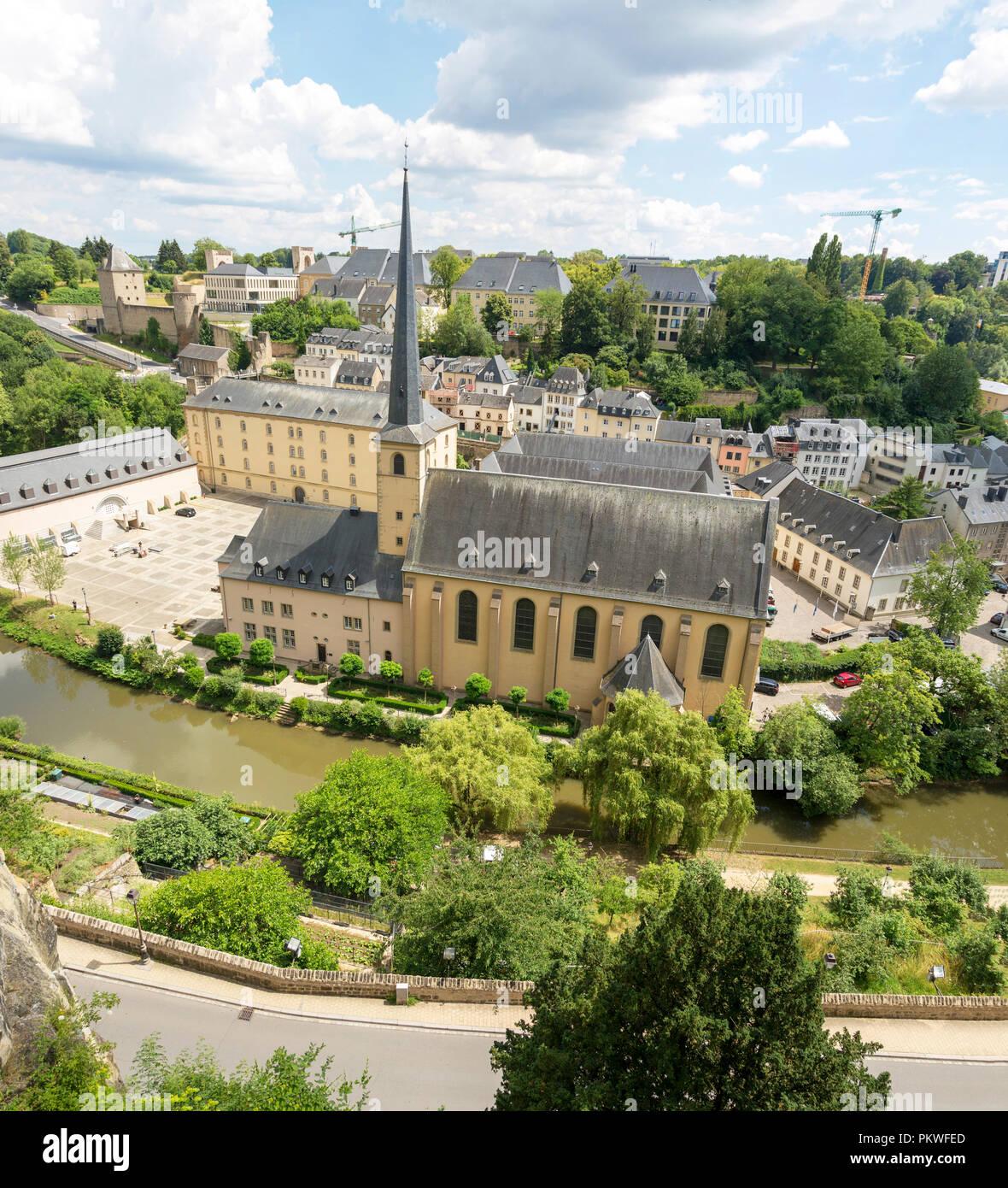 Luxemburg, Großherzogtum Luxemburg - Juli 06, 2018: Neumünster Abbey in der unteren Stadt in Luxemburg Stockbild