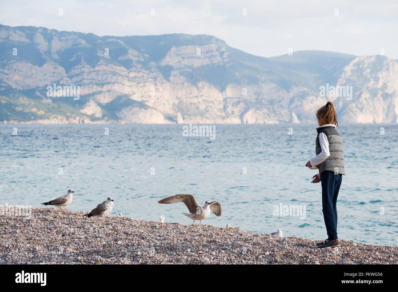 Möwen Am Jacke Herbst Im Meer Kleines In Füttern Mädchen 0wN8vnm