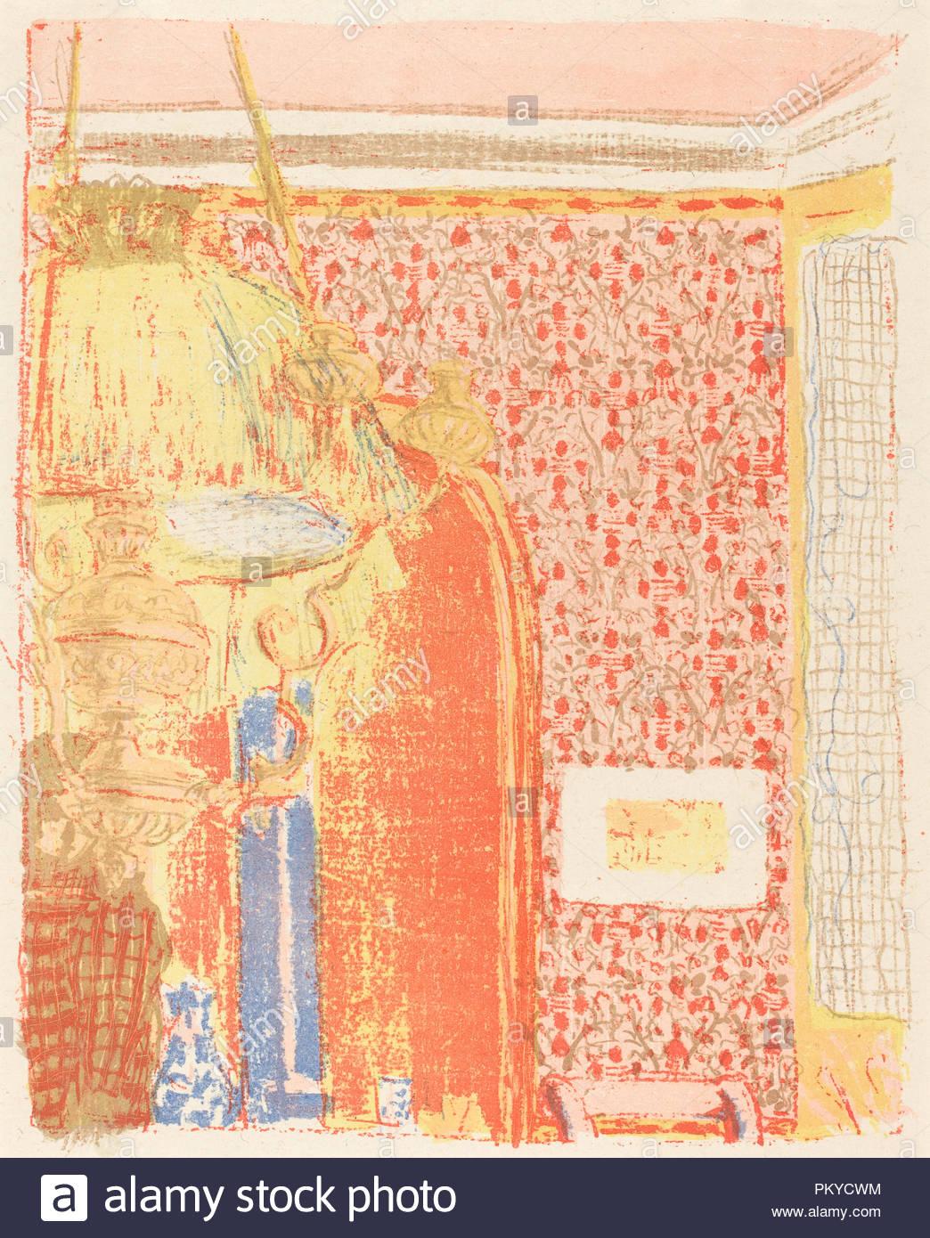 Interieur mit rosa Tapete III (Interieur aux tentures Roses III). Vom: C. 1896 (veröffentlicht 1899). Medium: farblithographie auf China Papier. Museum: Nationalgalerie, Washington DC. Autor: Edouard Vuillard. Stockbild