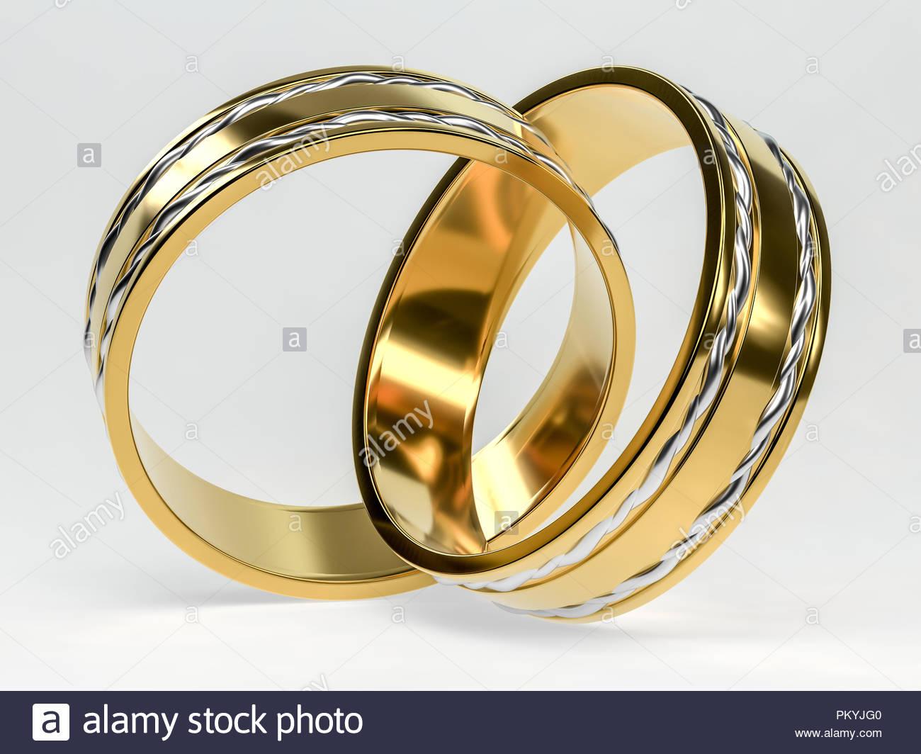 Goldene Hochzeit Ring Isoliert Hochzeit Ringe Hintergrund