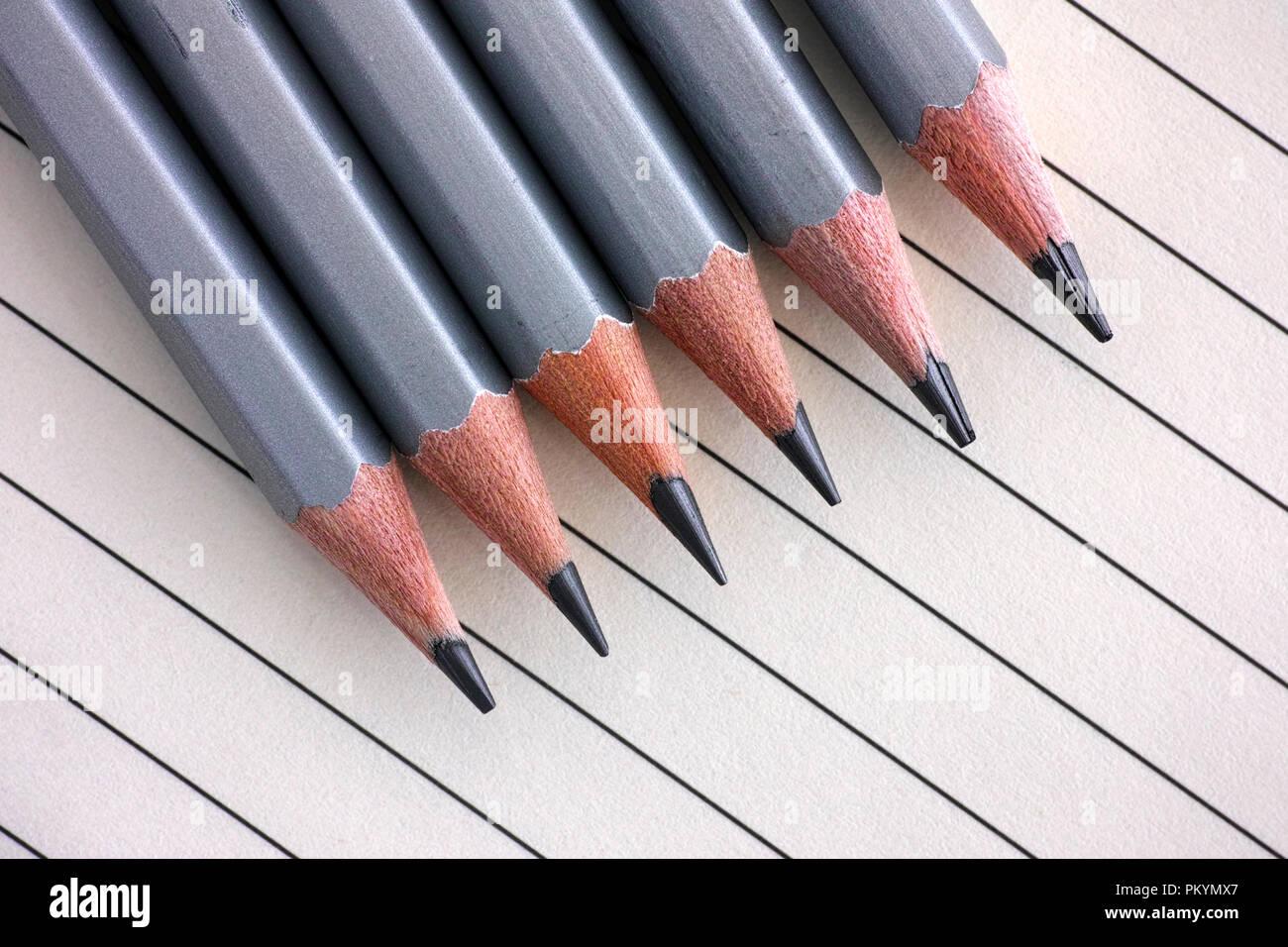 Grau graphit Bleistift in einer Reihe auf liniertem Papier Hintergrund. Stockbild