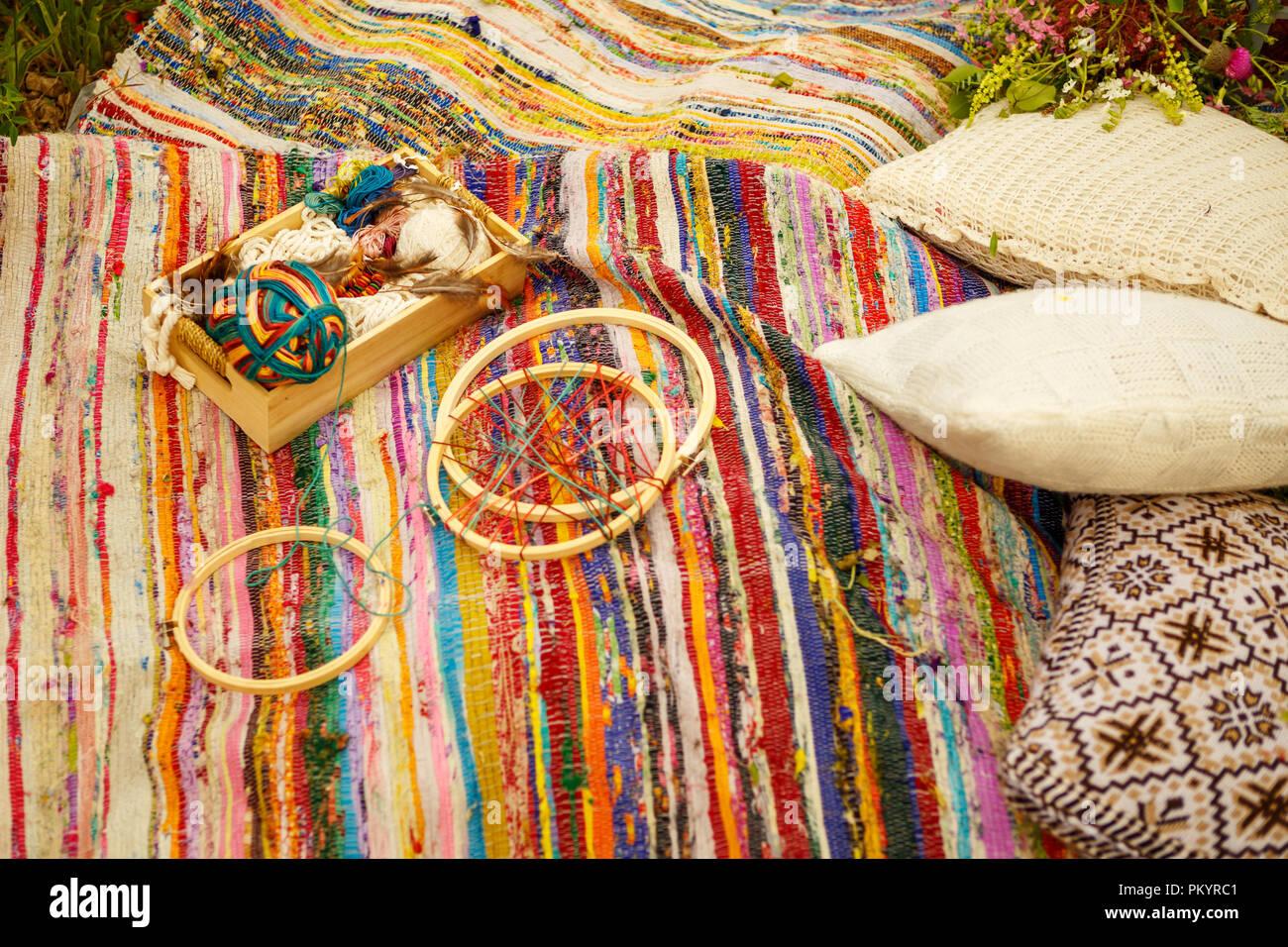 Attribute In Boho Hippie Style Liegen In Der Natur Stockfoto Bild