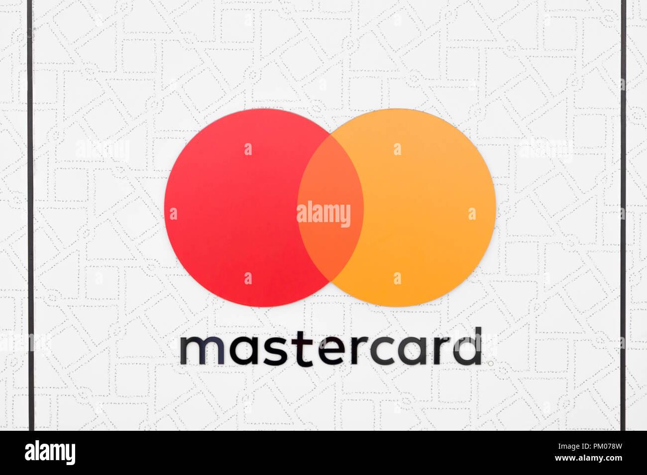 Mastercard Kreditkarte Visa Symbol logo Nahaufnahme Kreis orange