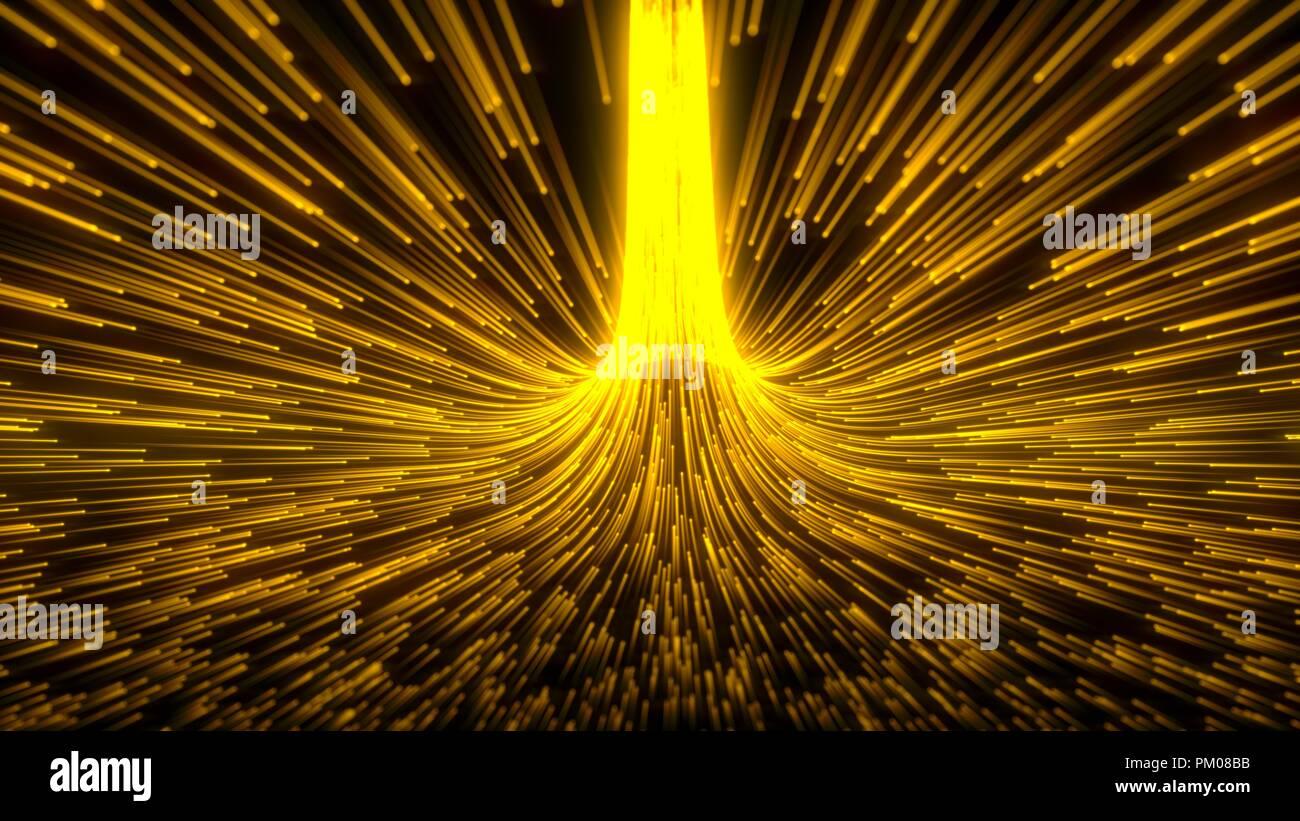 Fließende Partikel Schwarm mit glühenden Spuren. 3D-Darstellung. Stockfoto