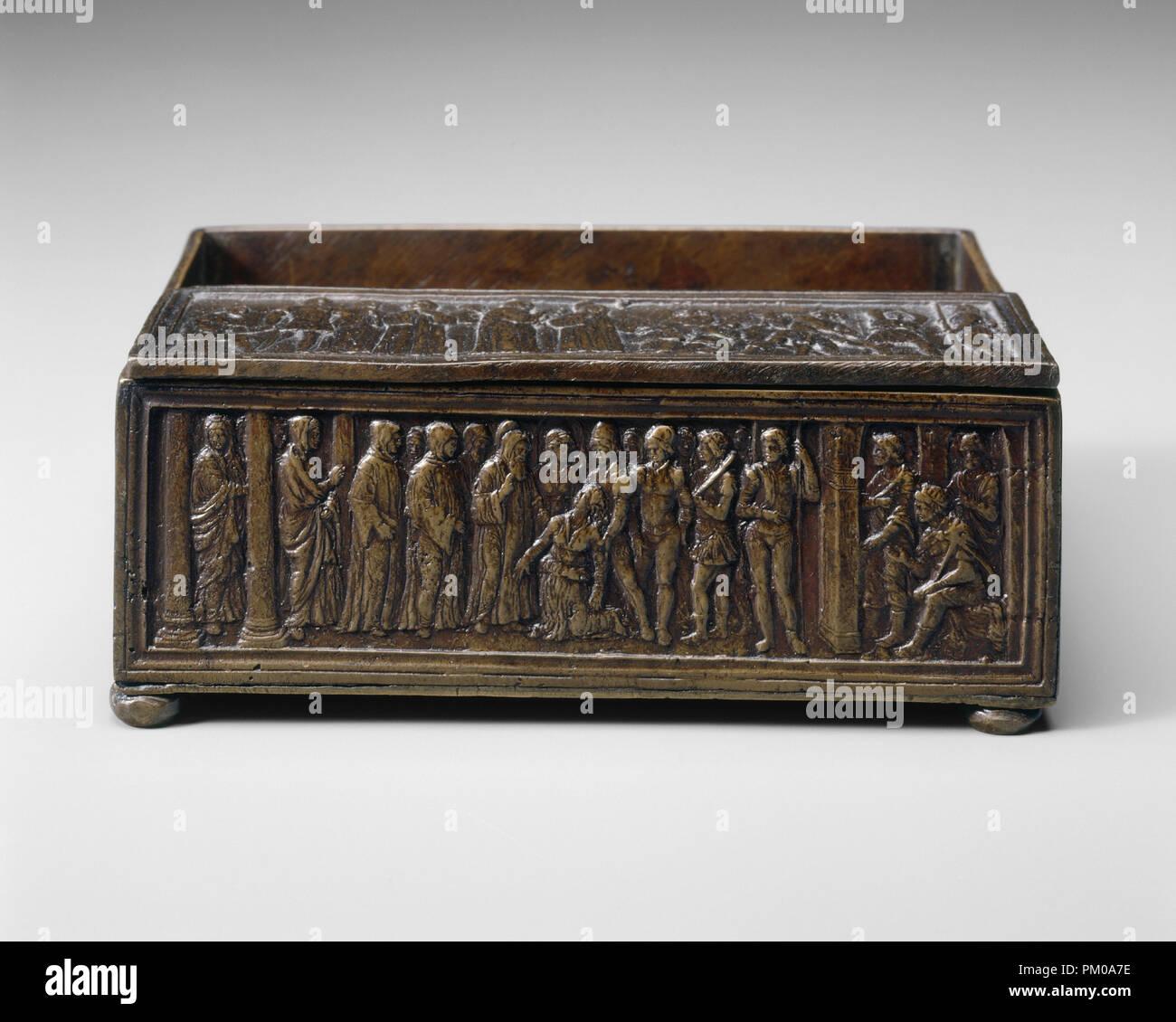 Saint Simeon von Polirone auszutreiben, die Tochter des Königs von León. Vom: Wahrscheinlich C. 1516. Maße: Gesamt: 6,11 x 18,85 cm, 285gr (2 3/8 x 7 7/16 in., 0.628 lb.). Medium: Bronze//Medium braune Patina. Museum: Nationalgalerie, Washington DC. Autor: Bartolomeo Spani. Stockbild