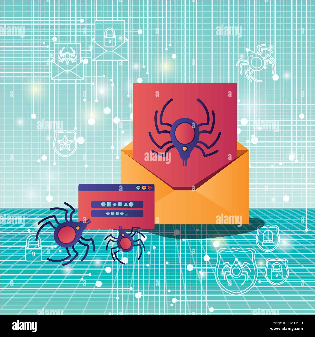 Cyber Security mit Umschlag Stockbild