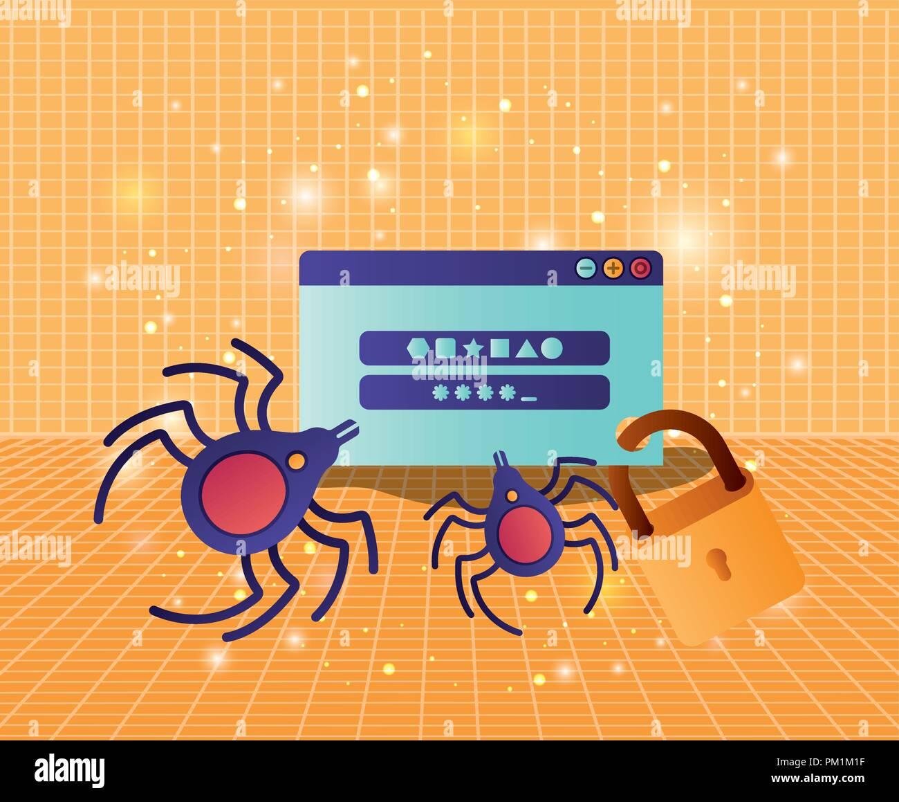 Cyber Security mit Webseite Vorlage Stockbild