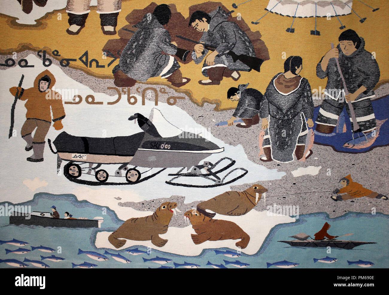 Wandteppich Darstellung Inuit Leben einschließlich der Jagd Stockbild