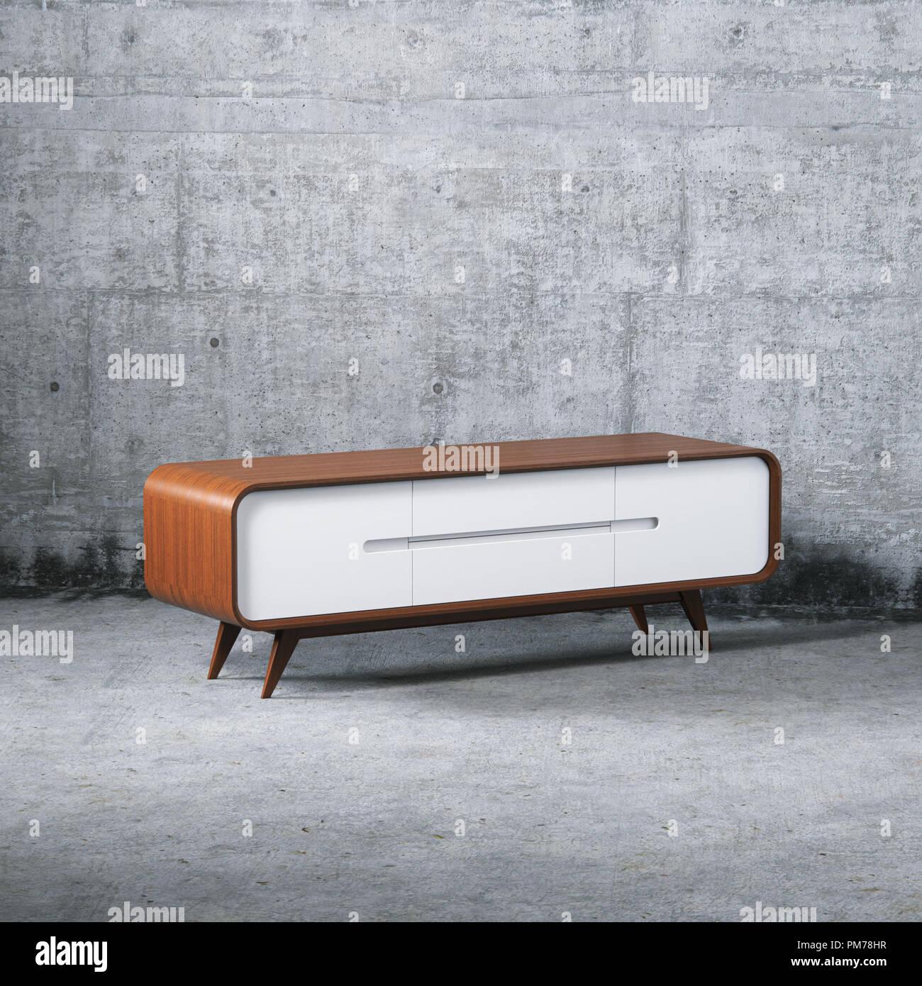 Holz- diy-Möbel vintage TV-Standfuß 3D-Rendering Stockfoto, Bild ...