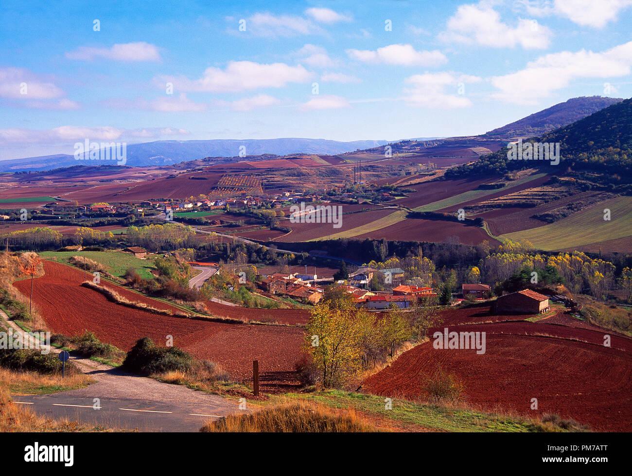 Landschaft. San Millan de la Cogolla, La Rioja, Spanien. Stockbild