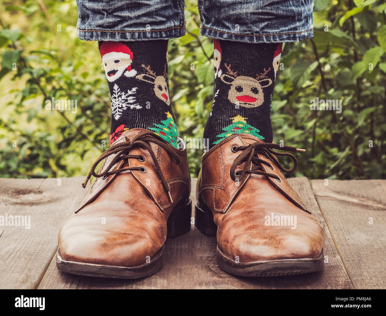 Old Leather Shoes Blue Socks Stockfotos & Old Leather Shoes Blue ...