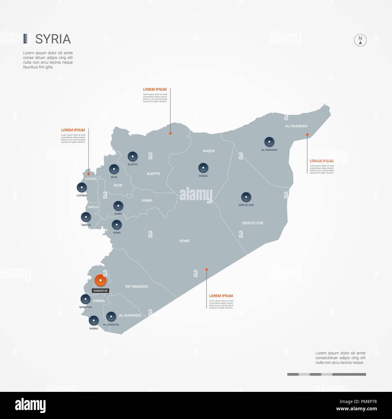 Syrien Karte Mit Städten.Syrien Karte Mit Grenzen Städte Kapital Und Administrativen