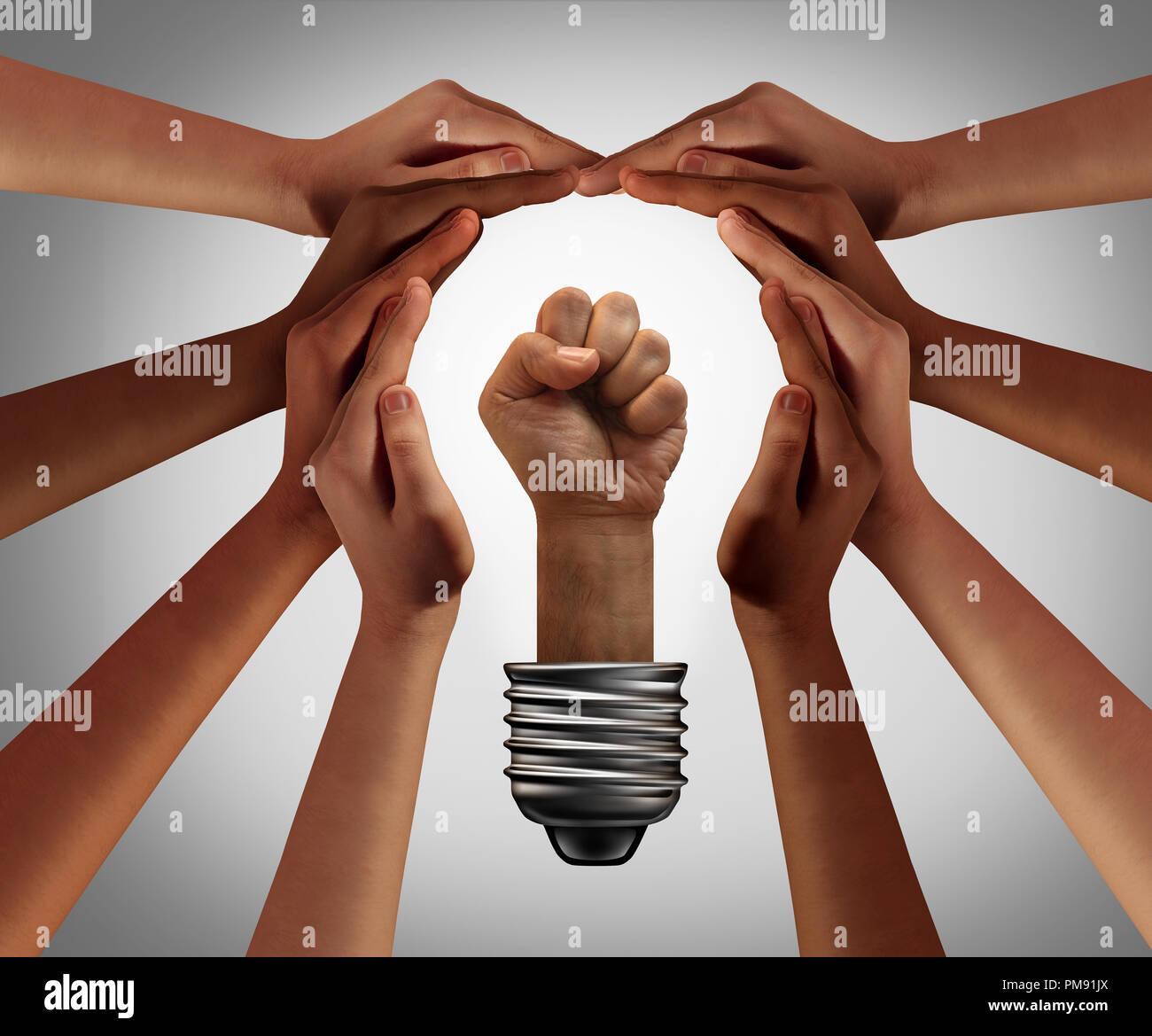 People Power Konzept und Vielfalt populistische Inspiration als soziale Bewegung, die Idee mit der 3D-Darstellung. Stockbild