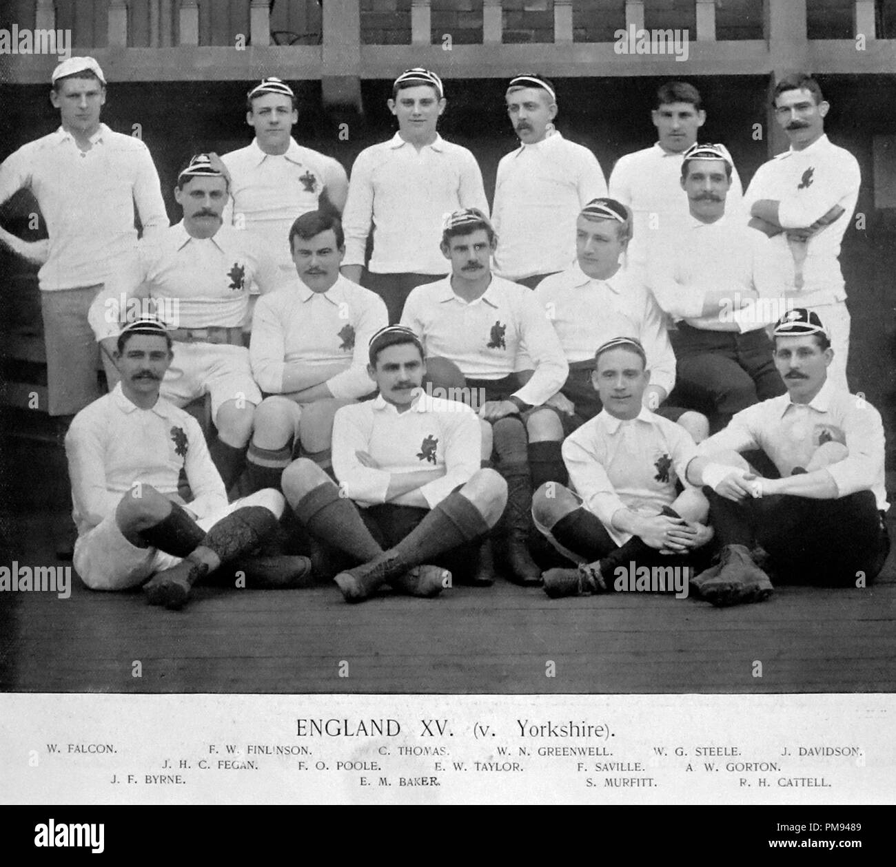 England XV Rugby Team im Jahr 1890 Stockfoto