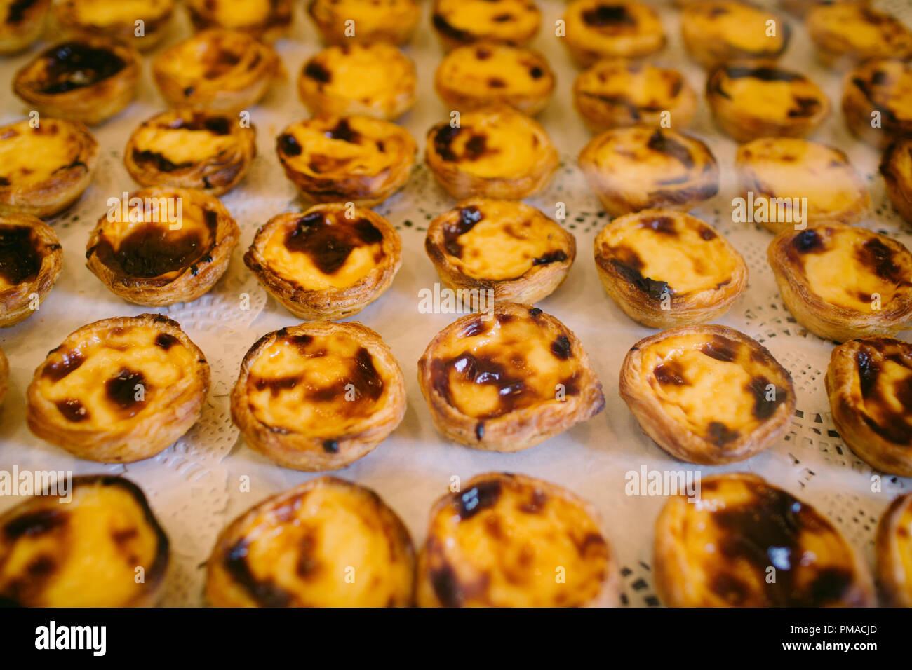 Traditionelle Portugiesische Kuchen Pastel De Nata Pudding Auf Ein