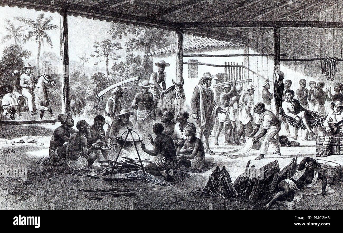 Vor kurzem gekauften Sklaven in Brasilien auf dem Weg zu den Farmen der Grundbesitzer, die Sie gekauft, um 1830 Stockbild