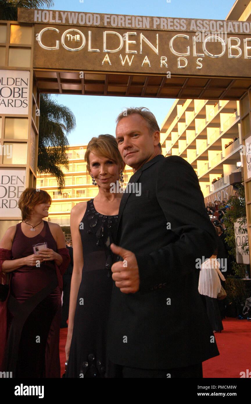 """Anreise auf der 61. jährlichen """"Golden Globe Awards"""" 01-25-2004 Sting und Frau Trudie Styler, gehalten im Beverly Hilton Hotel in Beverly Hills, CA. Datei Referenz Nr. 1079_111 PLX für redaktionelle Verwendung Stockfoto"""