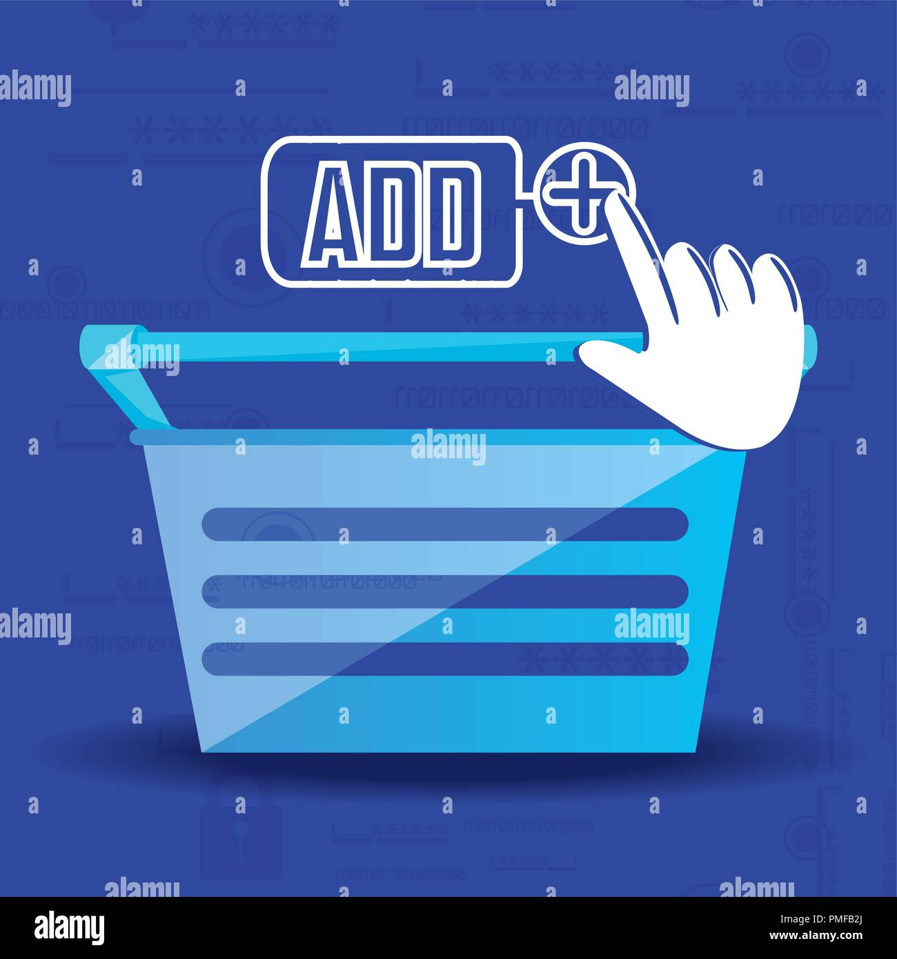 Online Shopping mit Korb Vector Illustration Design hinzufügen Stockbild
