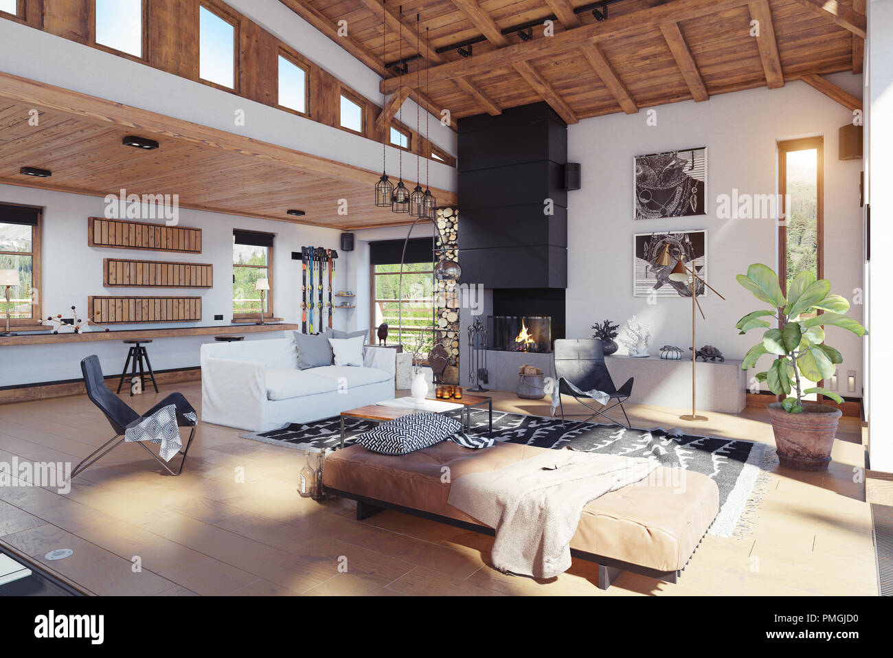 Modernes Chalet Interieur. 3D-rendering Design Konzept ...