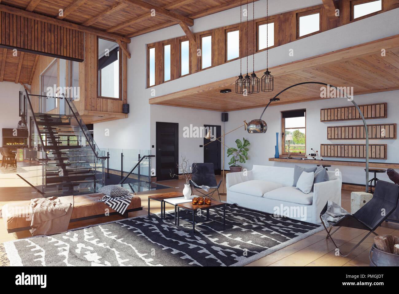 Modernes Chalet Interieur. 3D-rendering Design Konzept Stockfoto ...