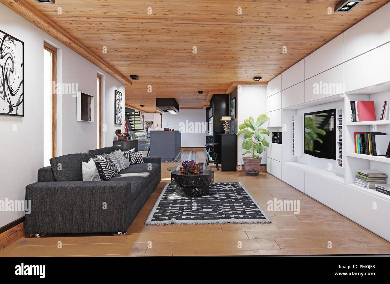 Modernes Haus Wohnbereich Interieur. 3D-rendering Design Konzept ...