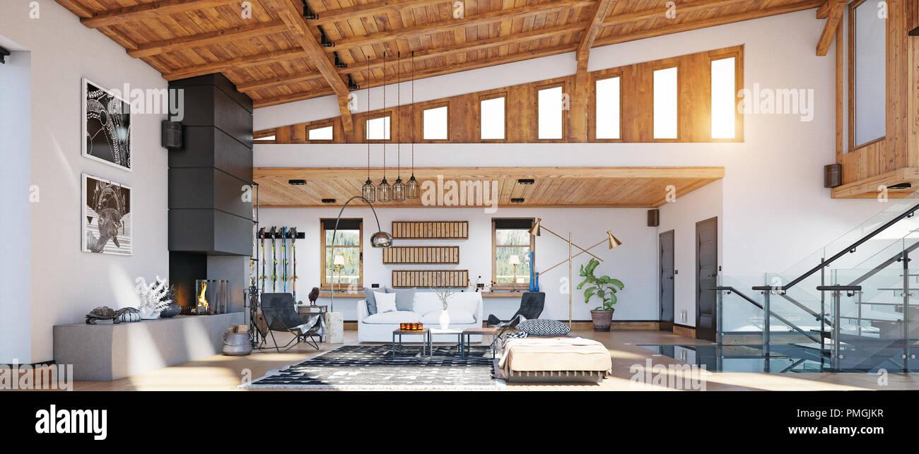 Modernes Chalet Interieur. 3d-design rendering Konzept Stockfoto ...