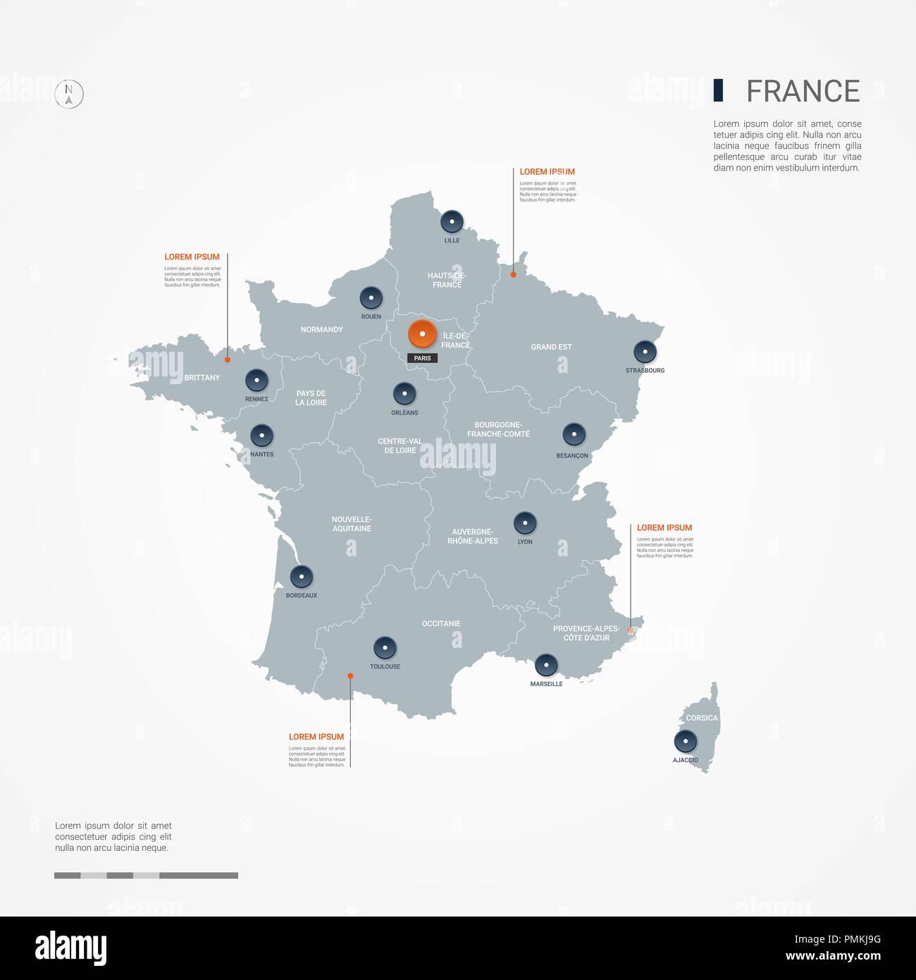 Frankreich Karte Stadte.Frankreich Karte Mit Grenzen Stadte Kapital Und