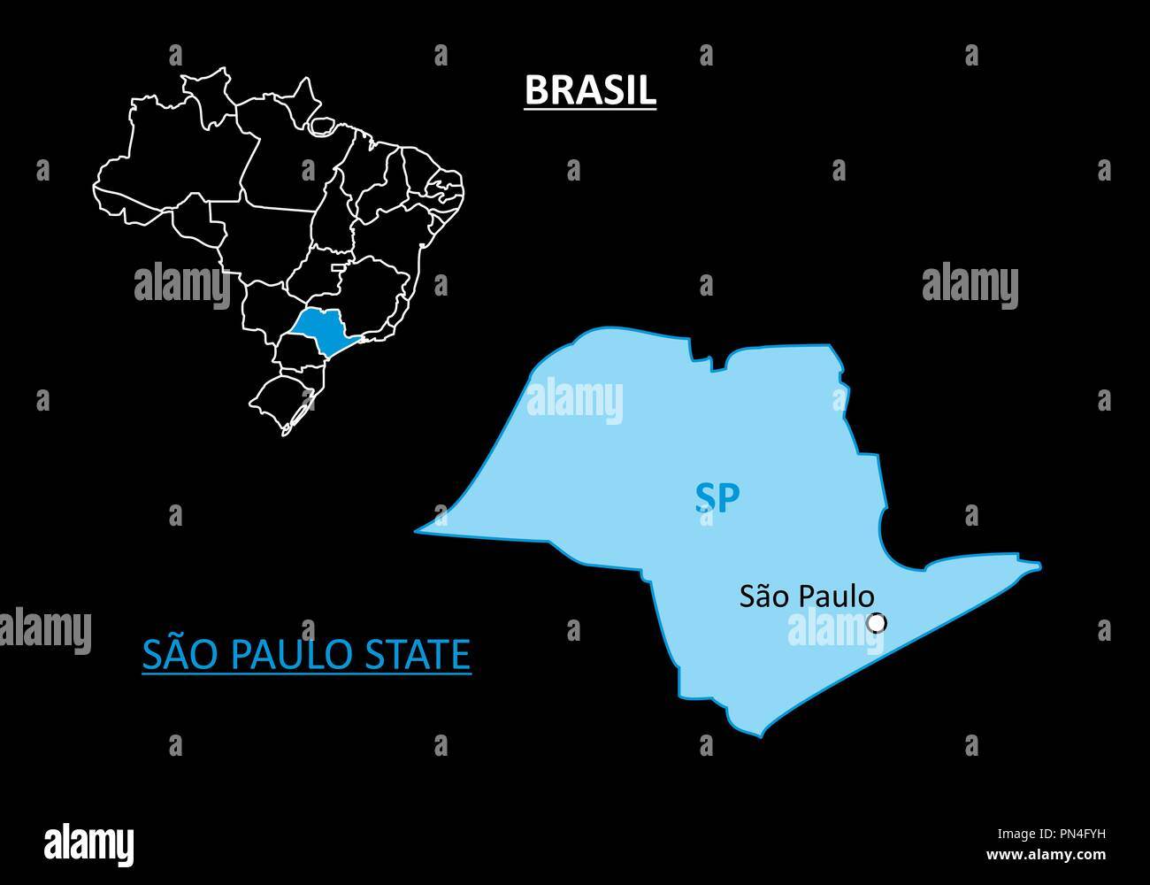 Sao Paulo Map Vector Stockfotos & Sao Paulo Map Vector Bilder - Alamy
