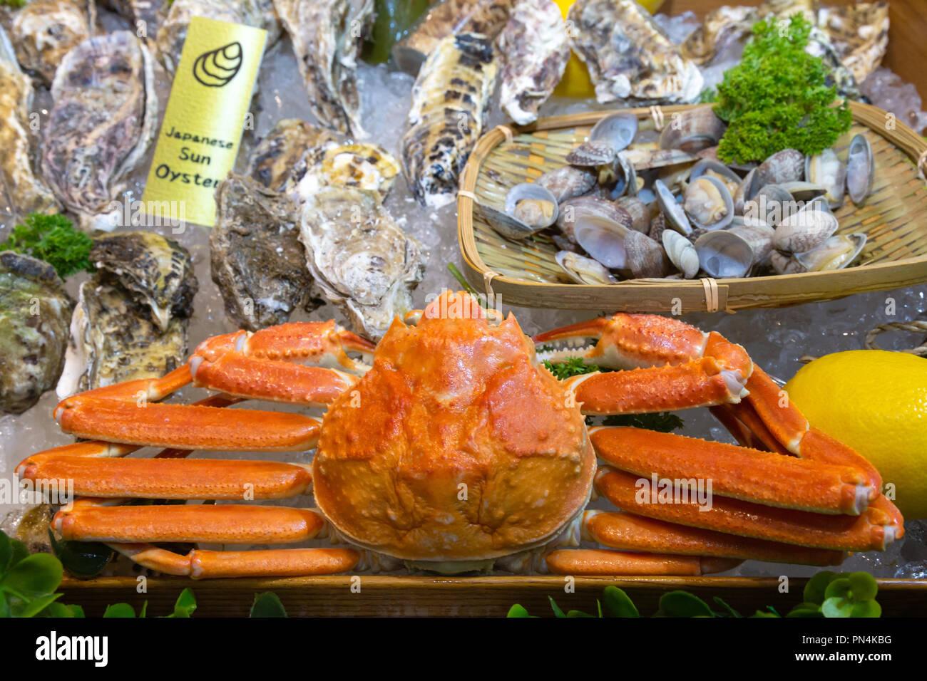 Frische Rote Seespinne Japanische Sonne Serviert Hummer Und Andere
