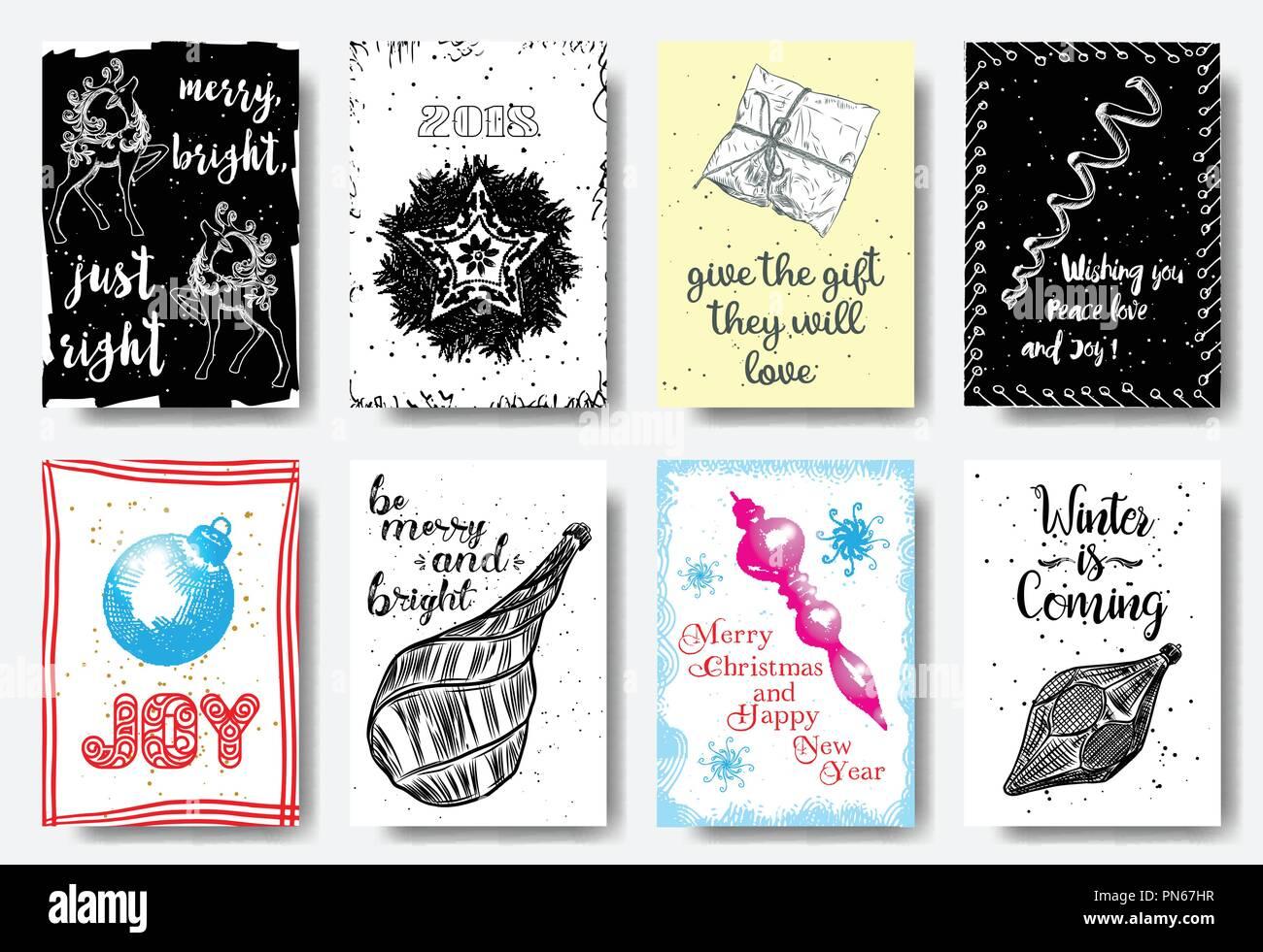 Weihnachten Karte einstellen, Tags, Hand gezeichnet styleMerry helle ...