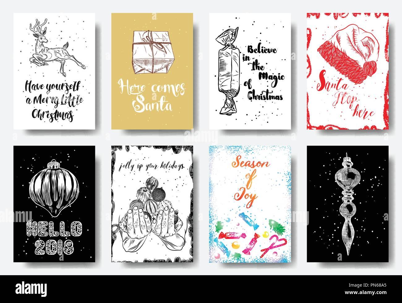Kreative Weihnachtskarten.Satz Von 8 Kreative Weihnachtskarten Weihnachten Poster Vorlagen